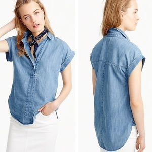 J. Crew Denim Chambray Popover Short Sleeved Tunic